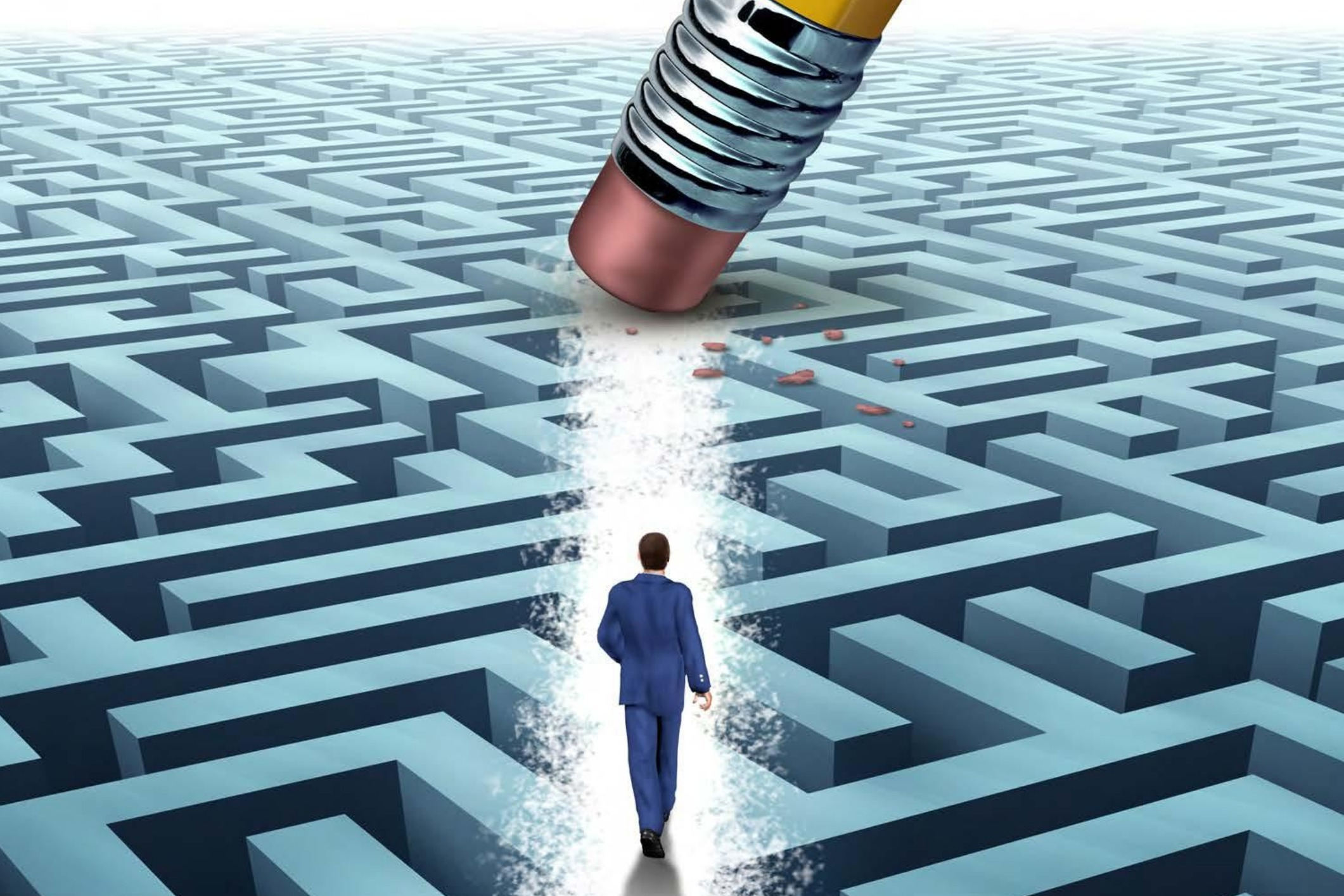 Business man way out of maze