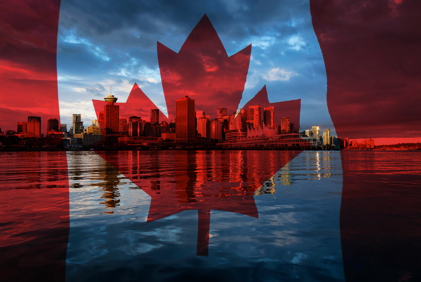 Canadian flag over cityscape of Canada